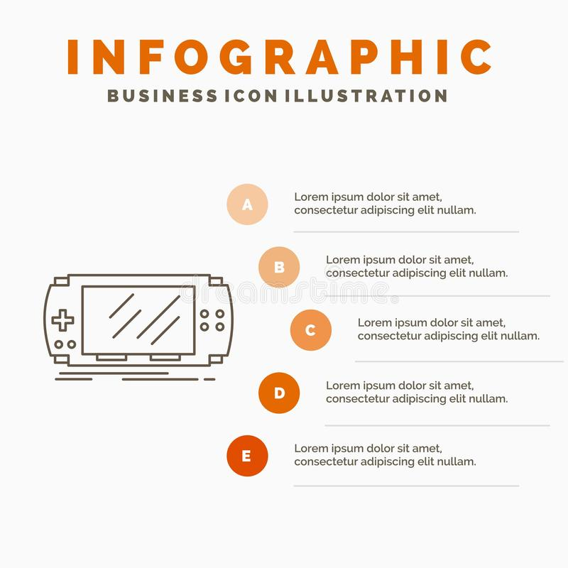 Console, device, game, gaming, psp Infographics Template for Website and Presentation. Line Gray icon with Orange infographic. Style vector illustration. Vector royalty free illustration