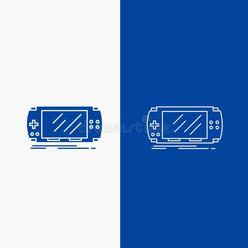 Console, device, game, gaming, psp Line and Glyph web Button in Blue color Vertical Banner for UI and UX, website or mobile. Application. Vector EPS10 Abstract royalty free illustration