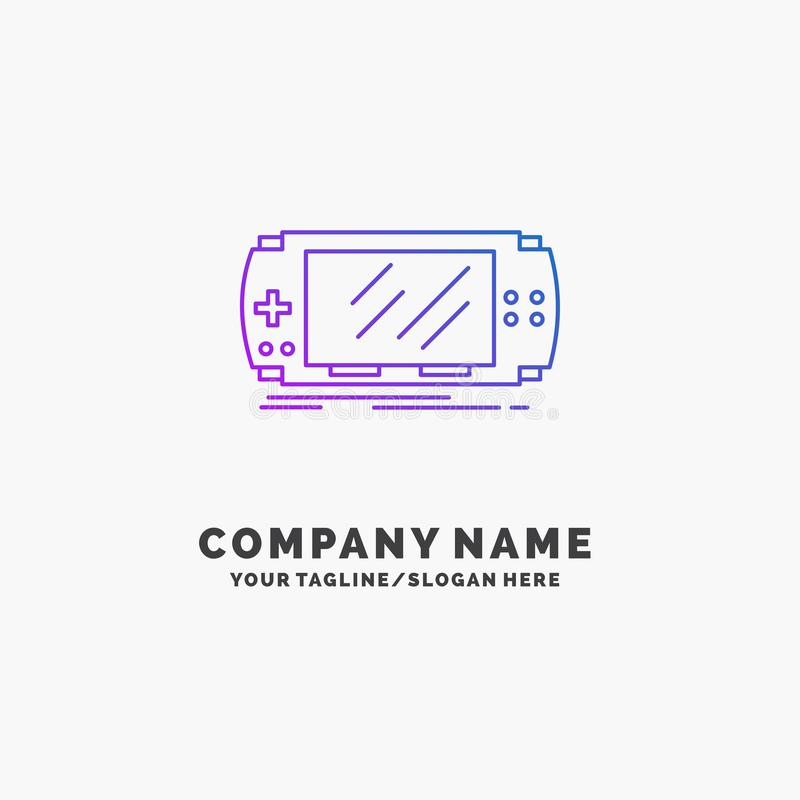 Console, device, game, gaming, psp Purple Business Logo Template. Place for Tagline. Vector EPS10 Abstract Template background royalty free illustration