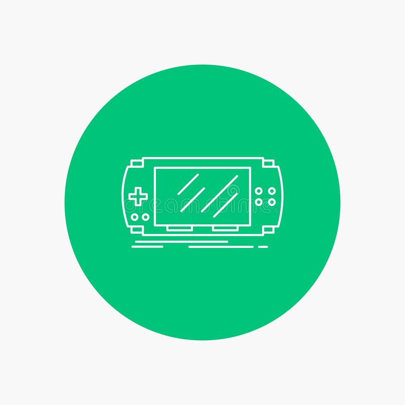 Console, device, game, gaming, psp White Line Icon in Circle background. vector icon illustration. Vector EPS10 Abstract Template background stock illustration