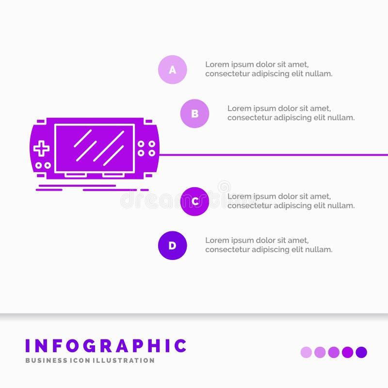 Console, dispositif, jeu, jeu, calibre d'Infographics de psp pour le site Web et présentation r illustration de vecteur