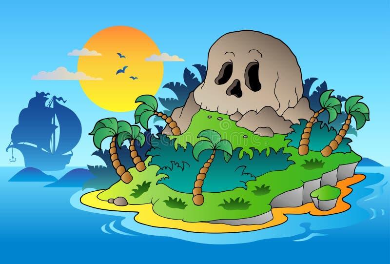 Console do crânio do pirata com navio ilustração royalty free