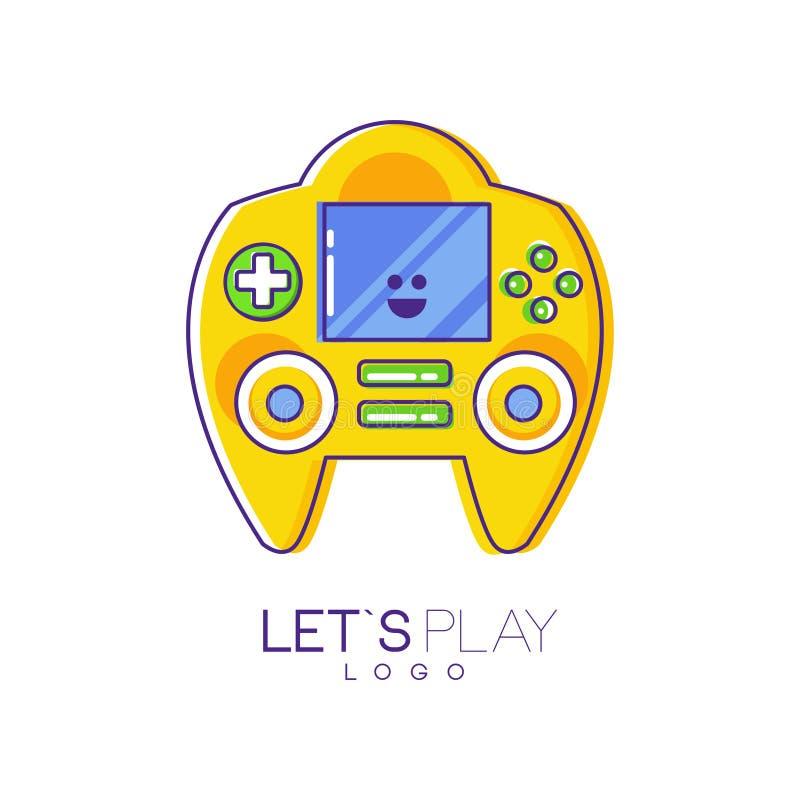 Console do jogo com tela e botões Dispositivo eletrônico Emblema linear com suficiência amarela Projeto colorido do vetor para o  ilustração stock