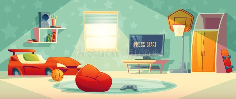 Console do jogo na ilustração do vetor da sala da criança ilustração stock