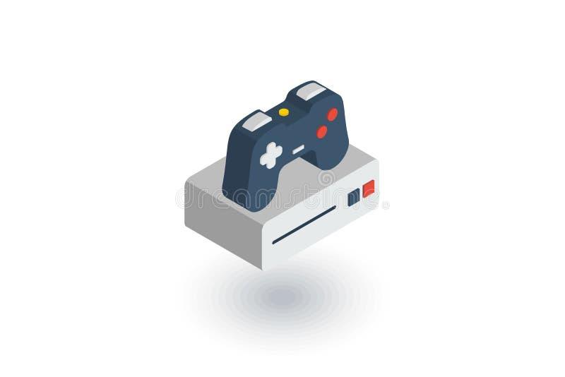 Console e manche, ícone liso isométrico do jogo vetor 3d ilustração stock