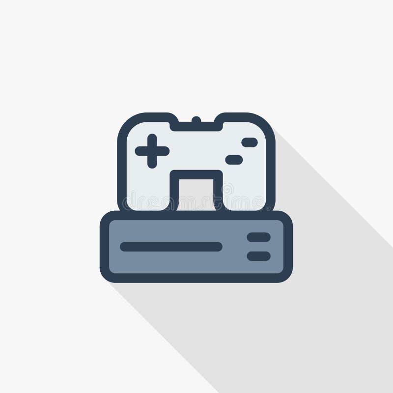 Console e manche, linha fina ícone liso do jogo da cor Símbolo linear do vetor Projeto longo colorido da sombra ilustração stock