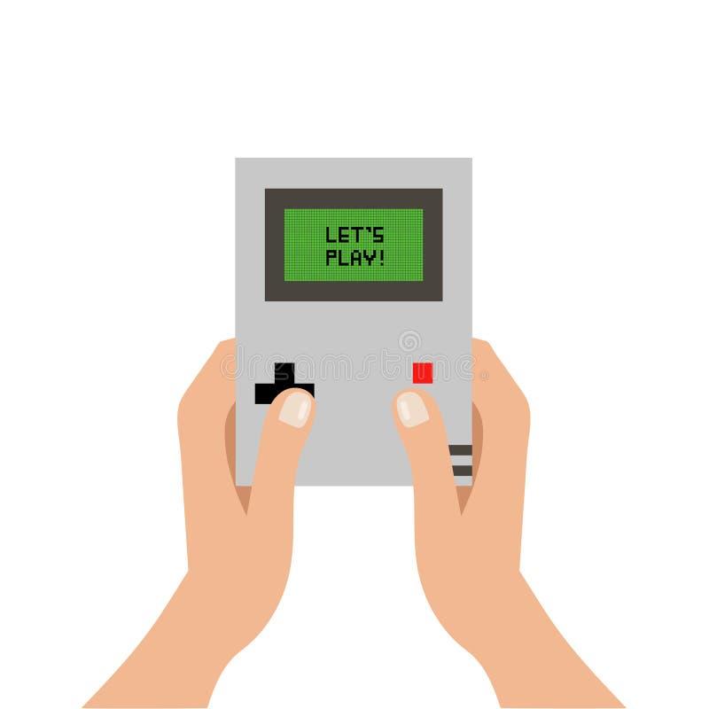 Console et mains de jeu illustration de vecteur