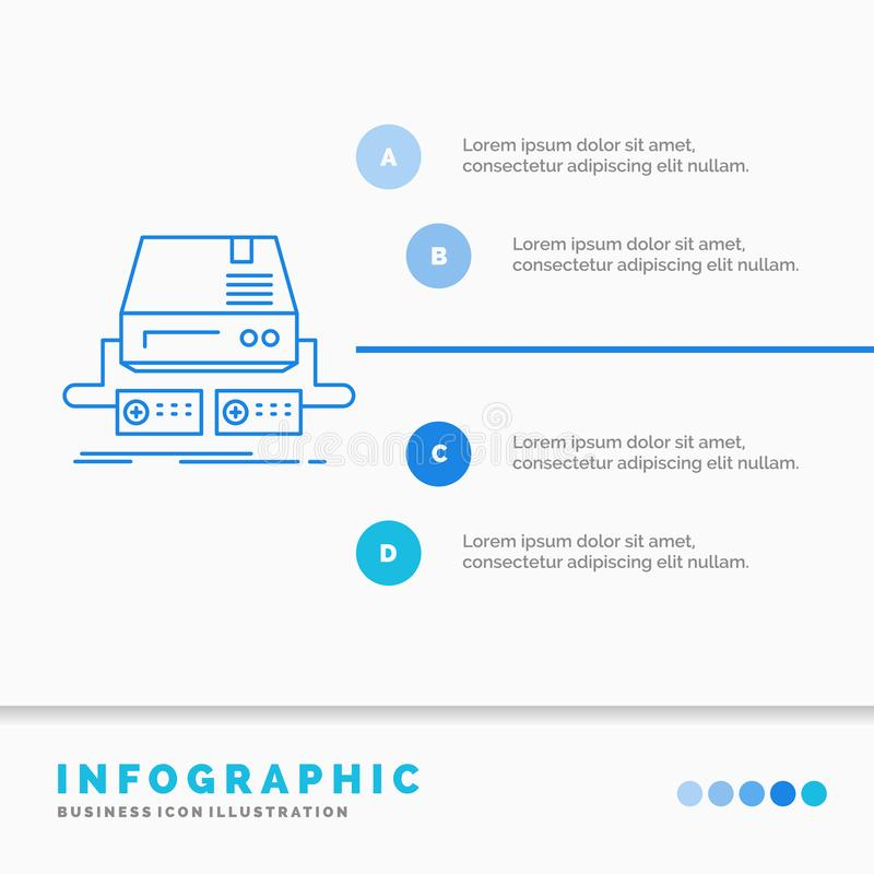 Console, game, gaming, pad, drive Infographics Template for Website and Presentation. Line Blue icon infographic style vector stock illustration