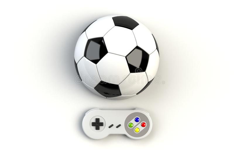 Console GamePad de jeu vid?o Concept de jeu Rétro manette de vue supérieure avec du ballon de football d'isolement illustration de vecteur