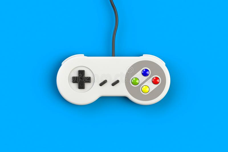 Console GamePad do jogo de v?deo Conceito do jogo Manche retro da vista superior isolado no fundo azul imagem de stock royalty free