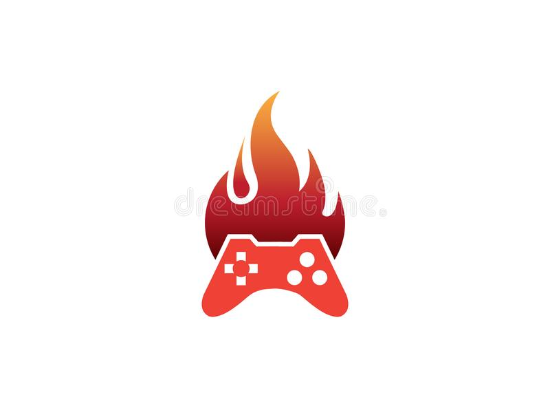 Console gamer fire symbol vector logo design illustration on white background royalty free stock images
