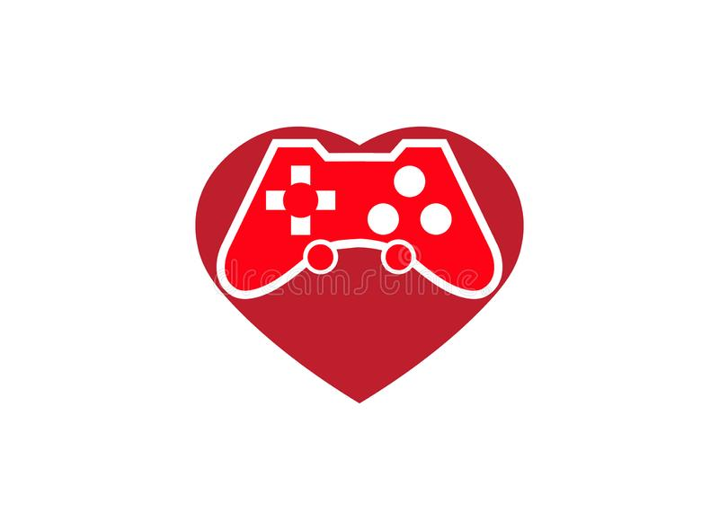 Console gamer heart symbol love gaming vector passion play games logo design illustration on white background royalty free stock image