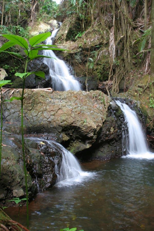 Console grande Havaí da queda tripla da água imagens de stock