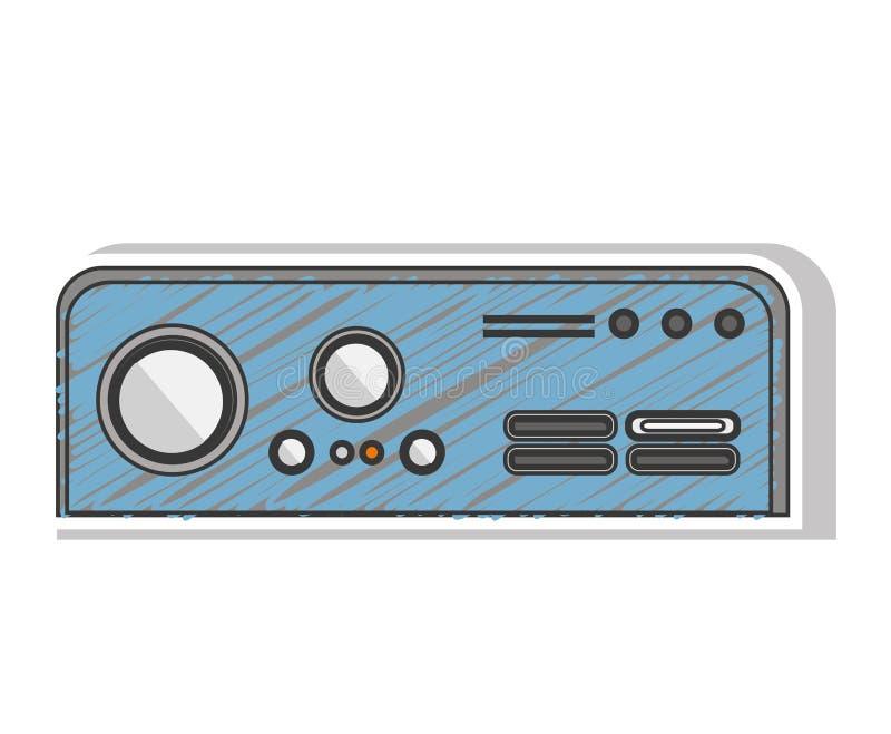 Console listrado azul do jogo do retângulo com botões ilustração stock