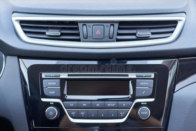 Console panel of the car stock image