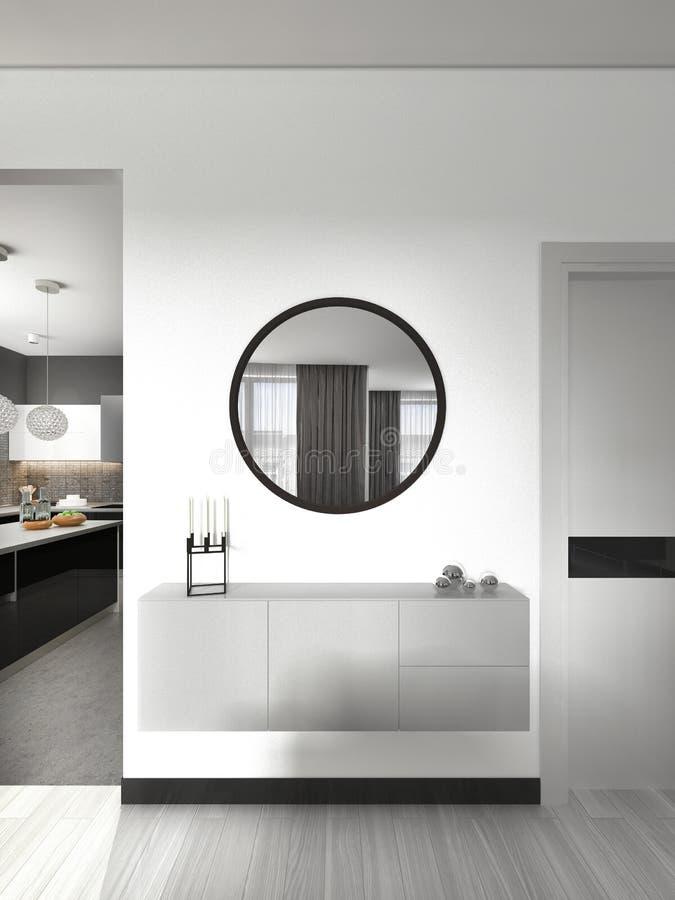 Console provvista di cardini bianca con uno specchio nello stile contemporaneo del salone illustrazione di stock