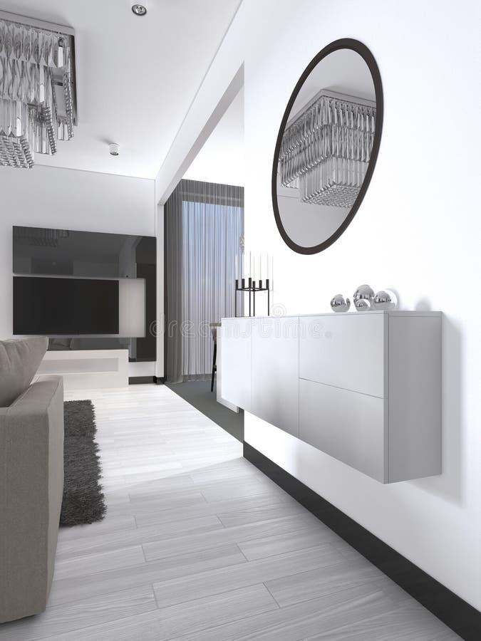 Console provvista di cardini bianca con uno specchio nello stile contemporaneo del salone illustrazione vettoriale