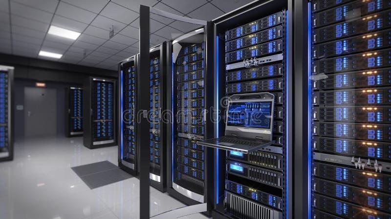 Console Rackmount do diodo emissor de luz no centro de dados da sala do servidor ilustração stock