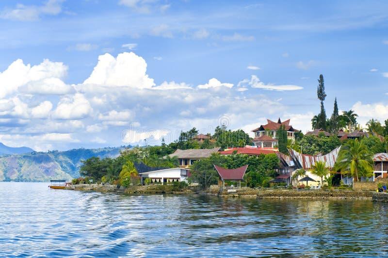 Console Samosir, lago Toba. Sumatra fotos de stock