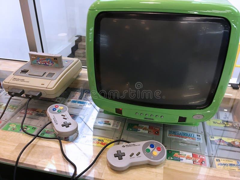Console super do jogo de vídeo de Nintendo Famicom do vintage fotos de stock royalty free