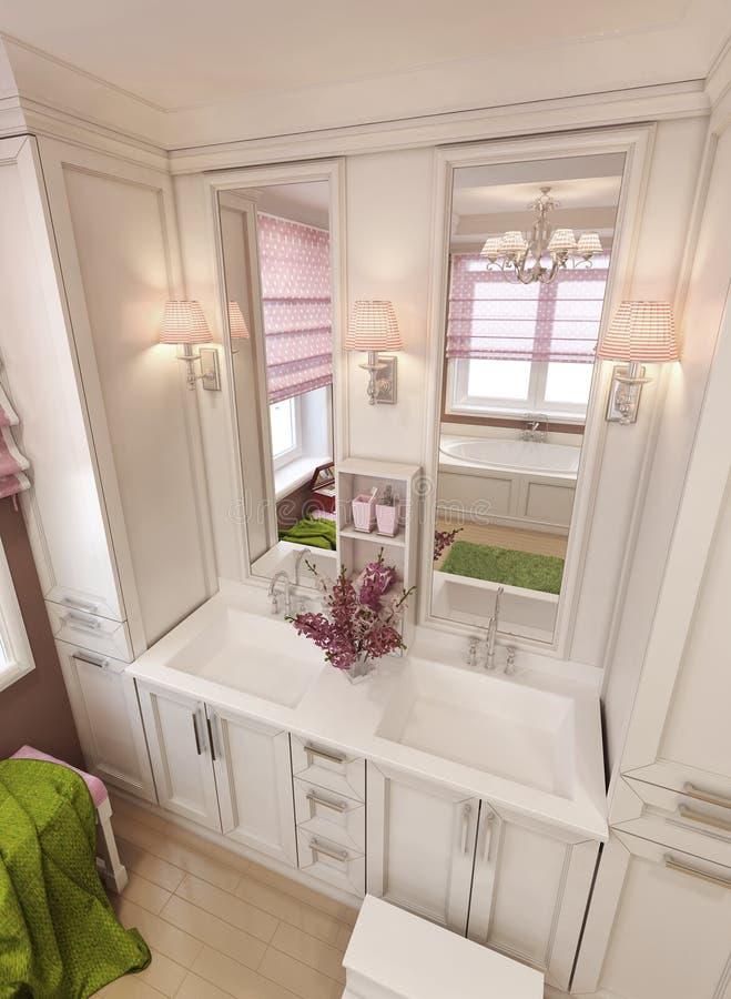 Consoles d'évier de vanité de salle de bains dans le style classique photo libre de droits