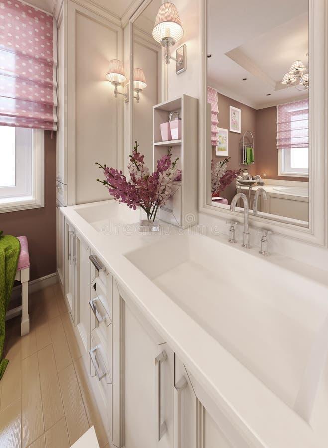 Consoles d'évier de vanité de salle de bains dans le style classique images libres de droits