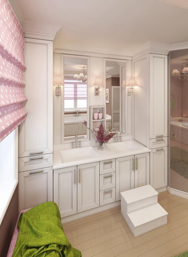 Consoles d'évier de vanité de salle de bains dans le style classique images stock