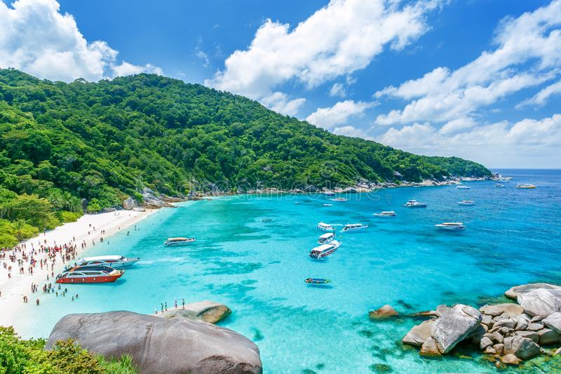 Consoles de Similan, Tailândia Paisagem tropical Curso no conceito de Ásia imagens de stock