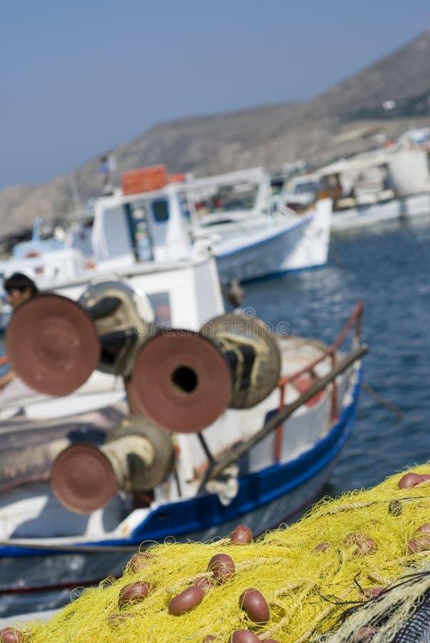 Consoles do grego dos barcos de pesca fotos de stock