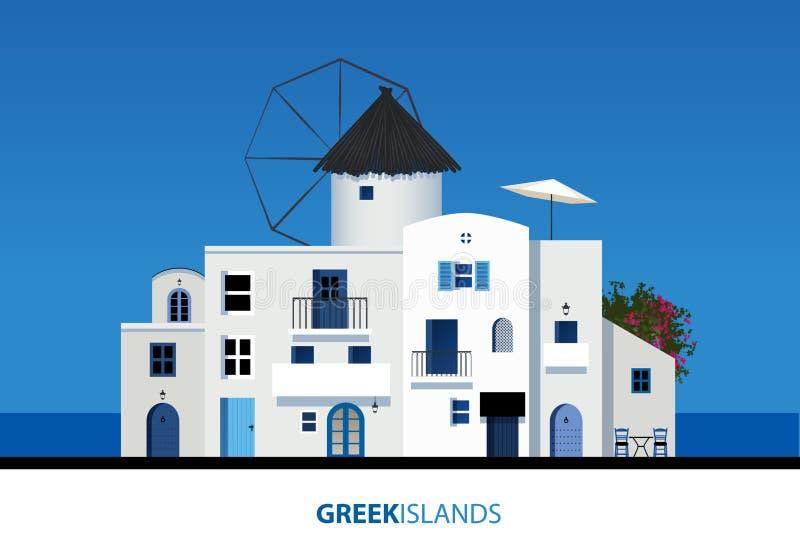 Consoles gregos Ideia da arquitetura grega típica da ilha no azul