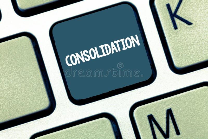Consolidação do texto da escrita Conceito que significa a ação ou o processo de fazer algo mais forte ou mais contínuo imagem de stock royalty free
