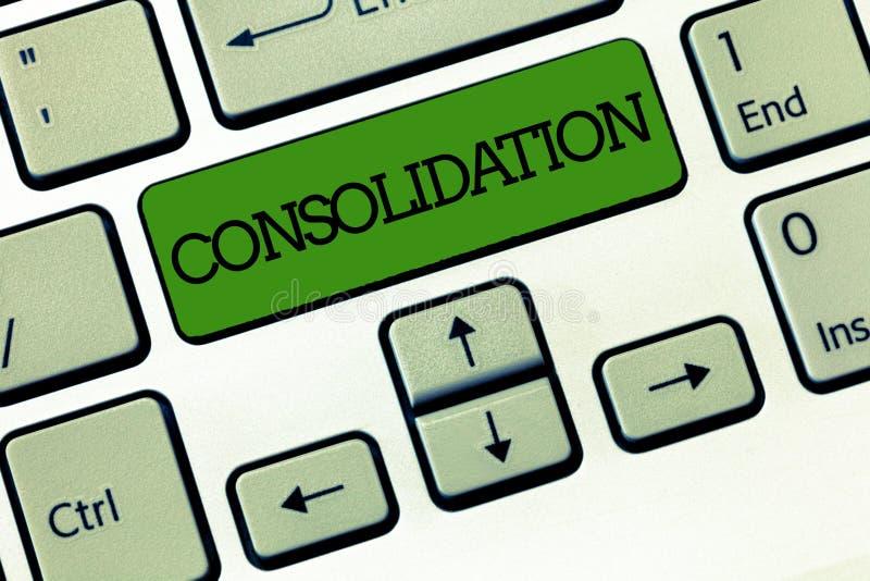 Consolidação do texto da escrita Conceito que significa a ação ou o processo de fazer algo mais forte ou mais contínuo fotos de stock