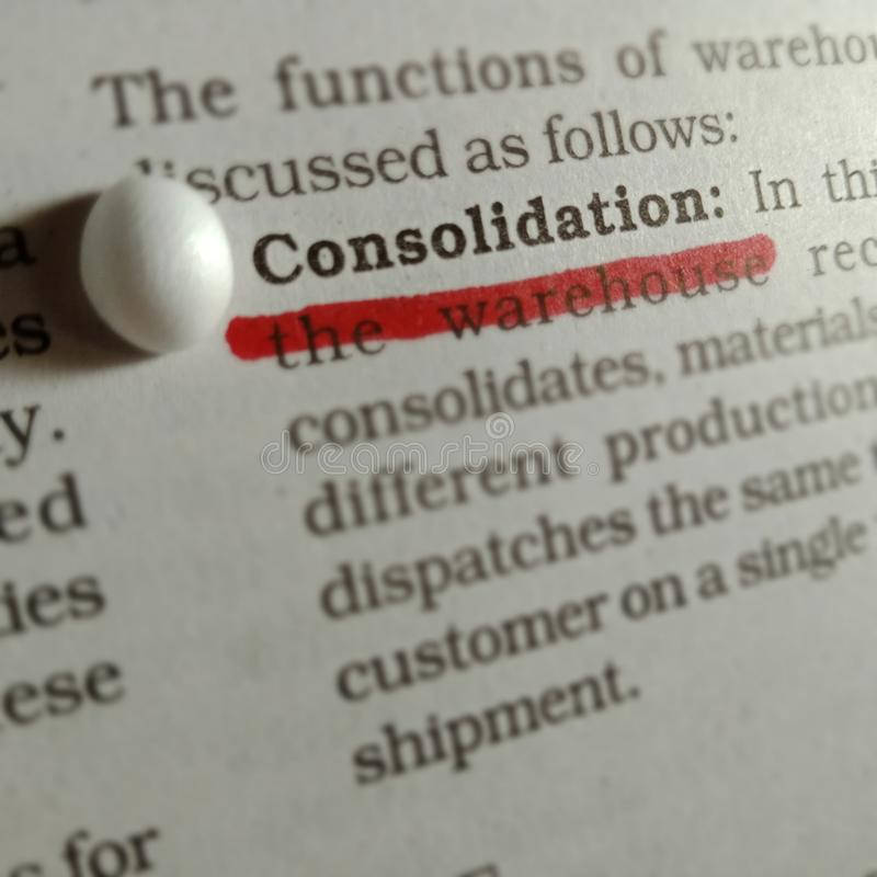 consolidation words displaying on paper page abstract background royalty free stock image
