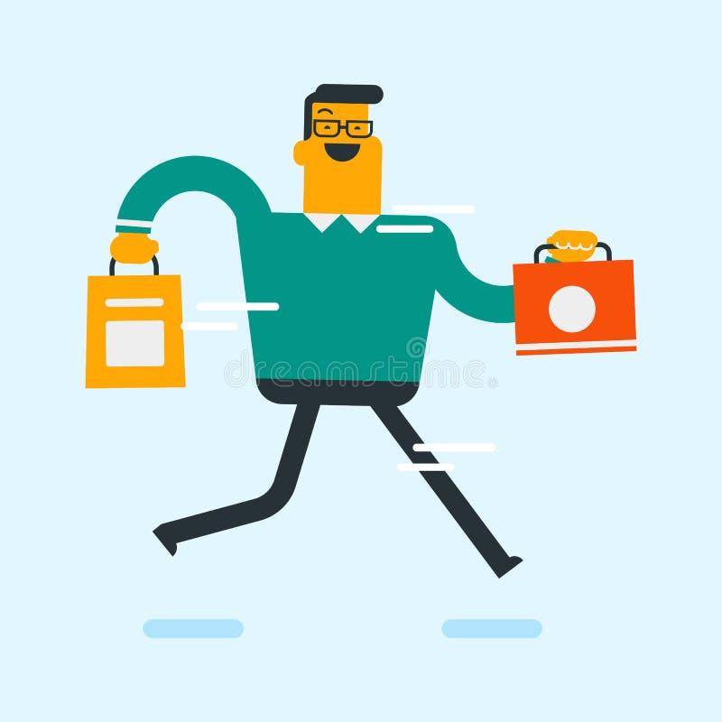 Consommateur blanc caucasien tenant des paniers illustration de vecteur