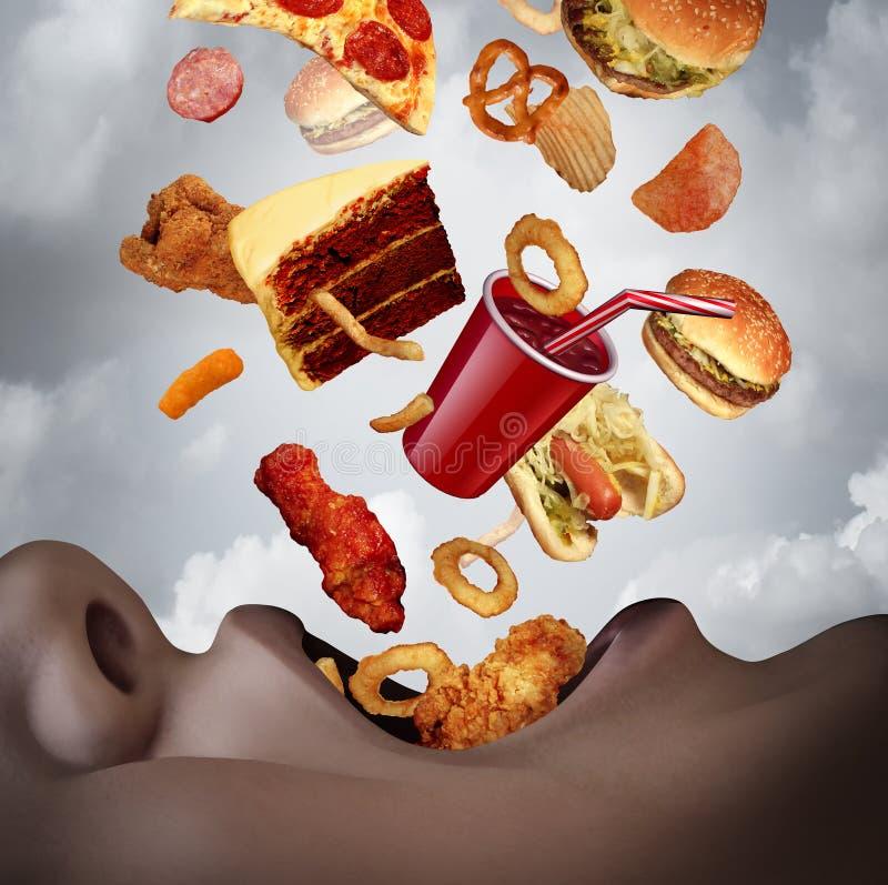 Consommation d'un régime malsain illustration stock