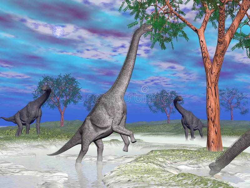 Consommation de dinosaure de Brachiosaurus - 3D rendent illustration stock