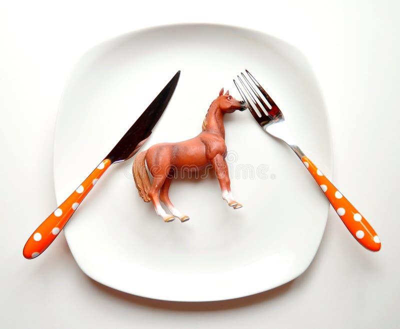 Consommation du concept de viande de cheval image stock