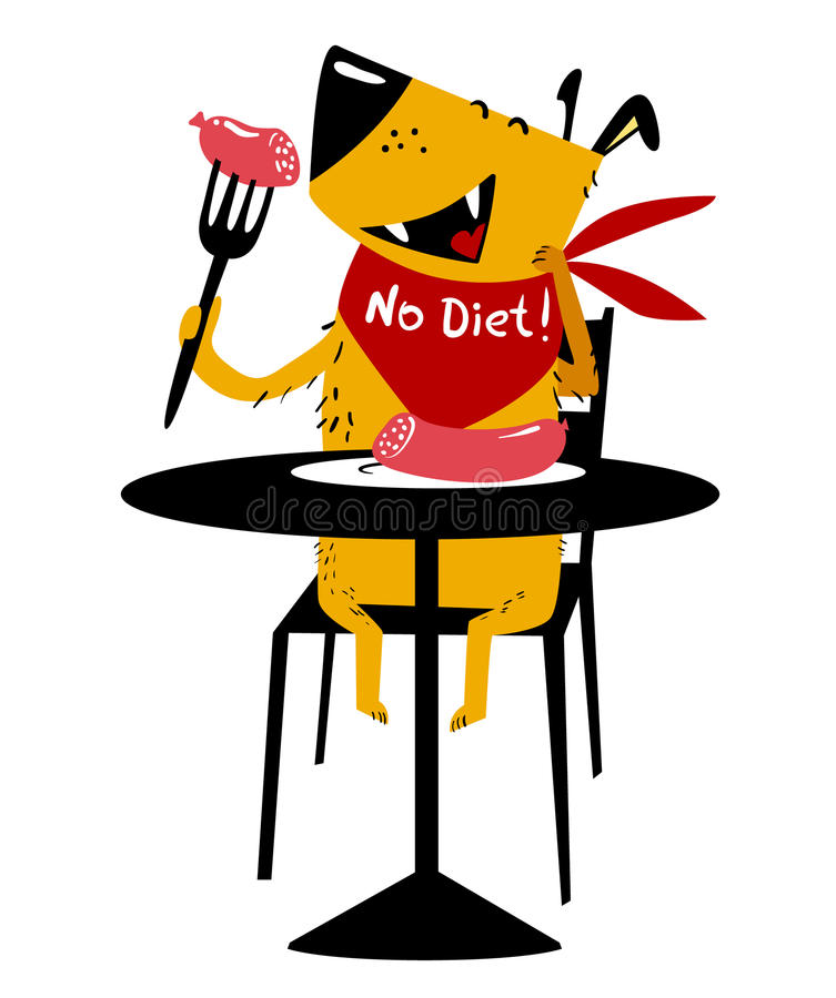 Consommation du crabot Un chien gai se repose à une table et mange la saucisse avec illustration de vecteur