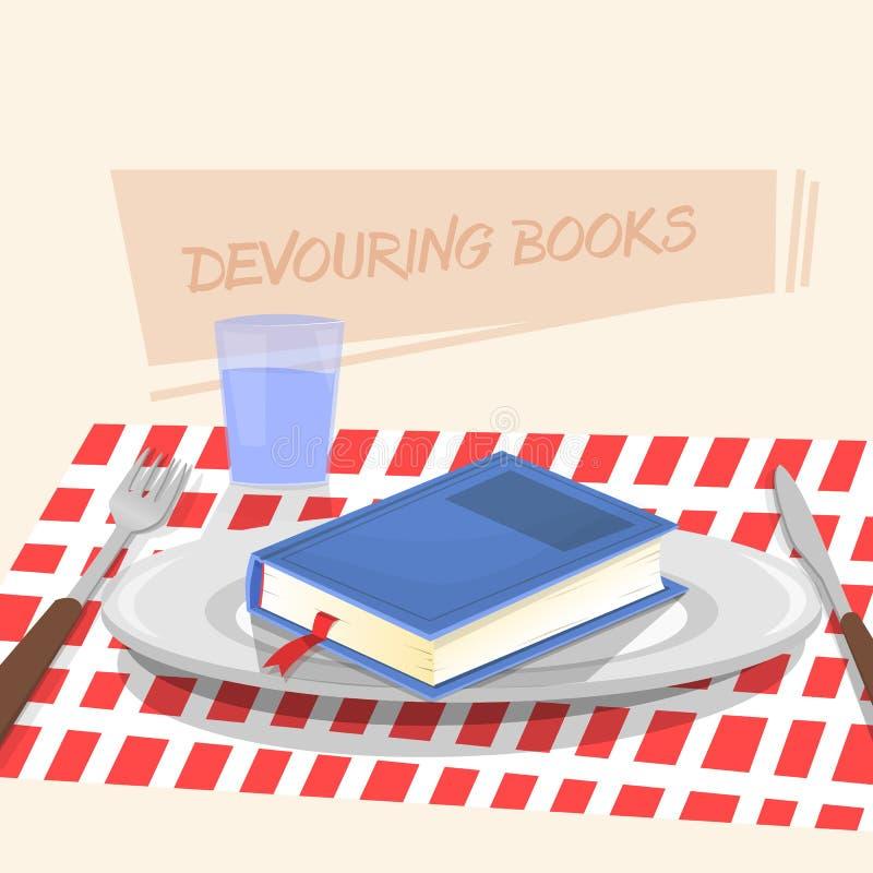 Consommation du livre illustration stock