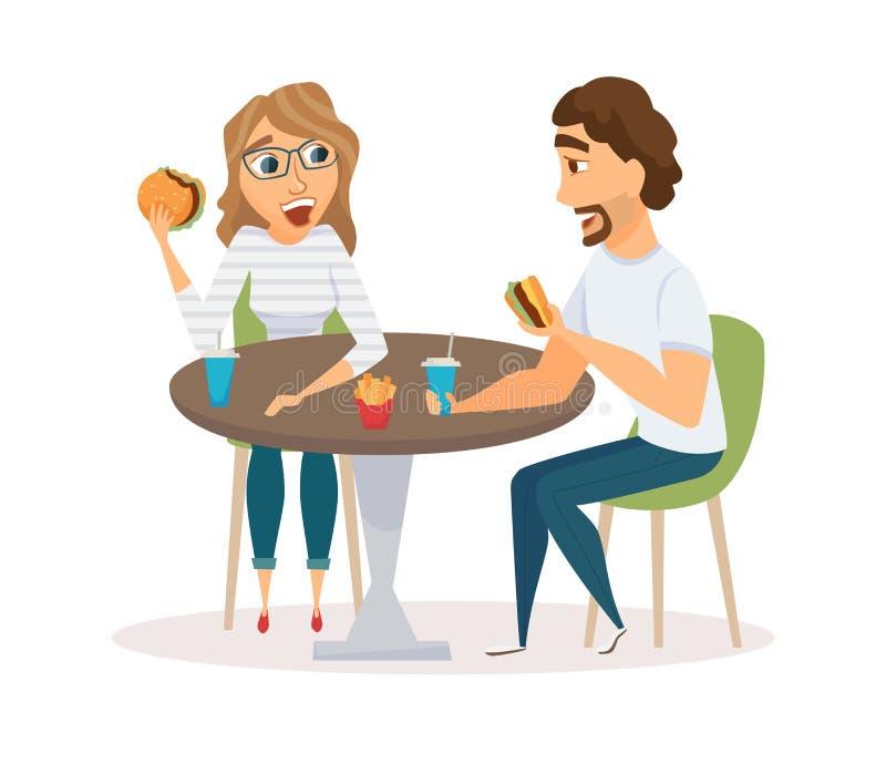 Consommation heureuse de couples illustration libre de droits