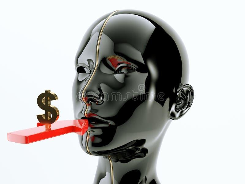 Consommation ou flèche et symbole dollar de consommationisme près de la bouche illustration libre de droits