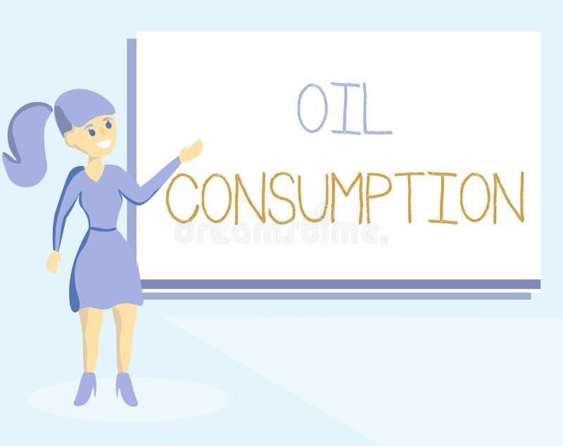 Consommation pétrolière des textes d'écriture de Word Le concept d'affaires pour cette entrée est toute l'huile consommée dans le illustration stock