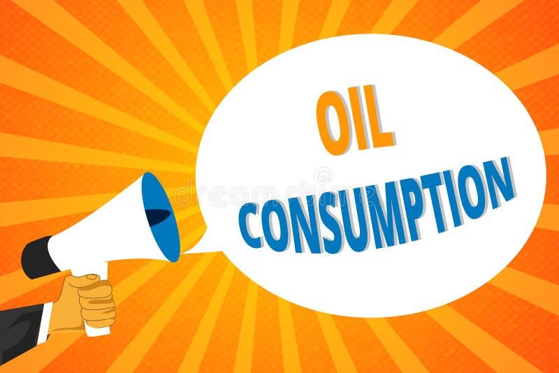 Consommation pétrolière des textes d'écriture Le concept signifiant cette entrée est toute l'huile consommée dans les barils par  illustration de vecteur