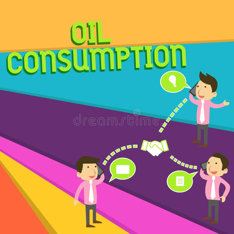Consommation p?troli?re des textes d'?criture La signification de concept cette entrée est toute l'huile consommée dans les baril illustration de vecteur