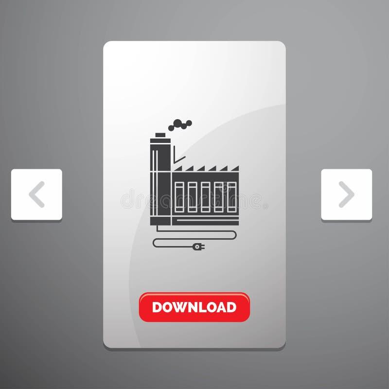 Consommation, ressource, énergie, usine, icône de fabrication de Glyph dans la conception de glisseur de paginations de beuverie  illustration stock