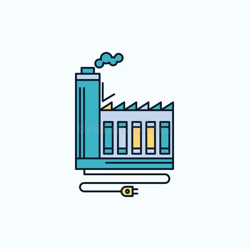 Consommation, ressource, énergie, usine, icône plate de fabrication signe et symboles verts et jaunes pour le site Web et le mobi illustration libre de droits
