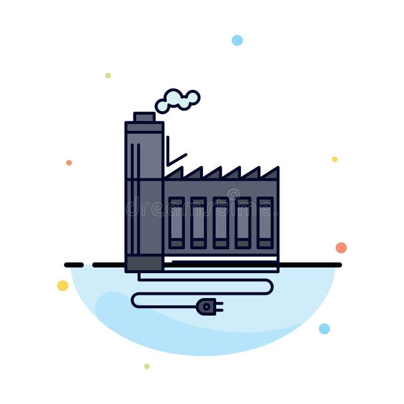 Consommation, ressource, énergie, usine, vecteur plat de fabrication d'icône de couleur illustration libre de droits
