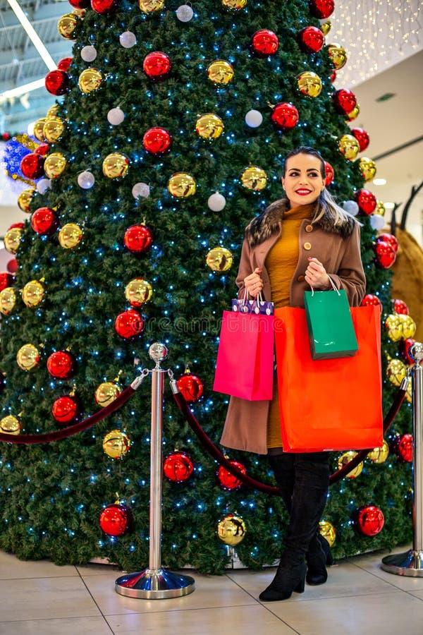 Consommationisme, Noël, achats, femme de concept de mode de vie dans le sho photographie stock libre de droits