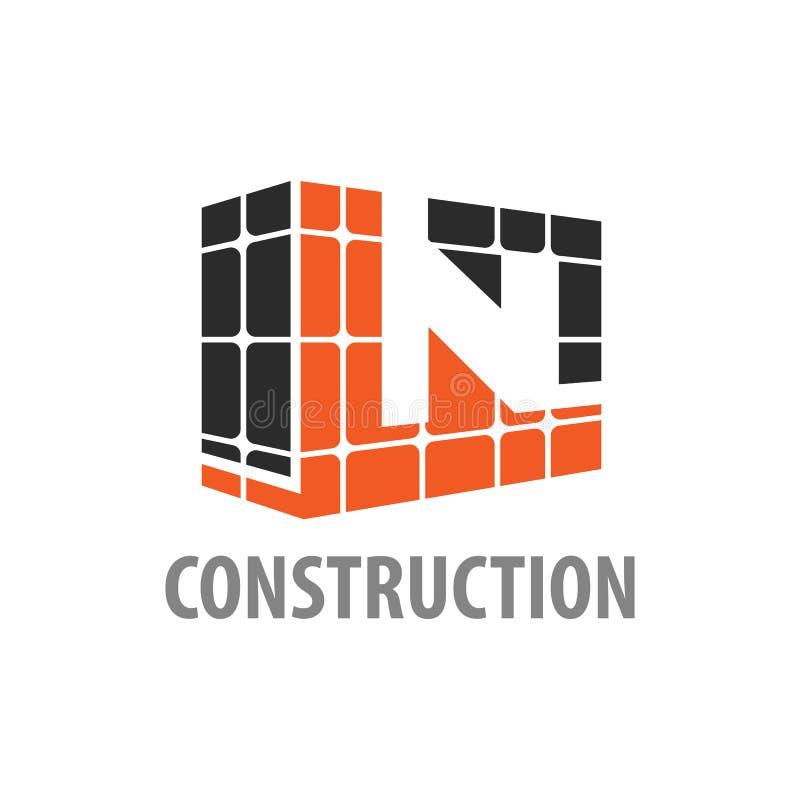 Consructions-Blockanfangsbuchstabe- Nlogokonzeptentwurf Grafisches Schablonenelement des Symbols lizenzfreie abbildung