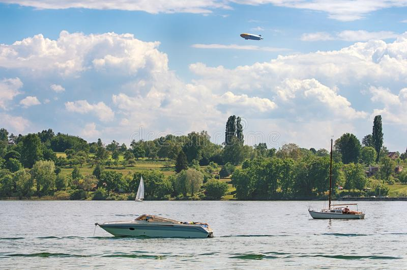 Constance湖,德国,从mainau海岛的看法 免版税库存图片